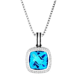 David Yurman Sterling Silver Blue Topaz & 0.40ct Diamond Albion Pendant Necklace
