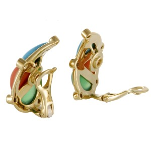 Dior 18K Yellow Gold 0.40ct. Diamond and Gemstone Clip-on Earrings