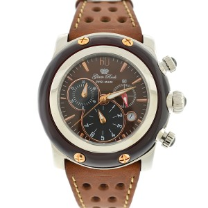 Glam Rock Brown Miami Chronograph 46mm Leather Strap Watch