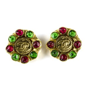 Chanel Gripoix CC Round Earrings