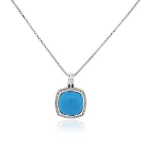 David Yurman Sterling Silver & 0.37ct Diamond & Turquoise Necklace