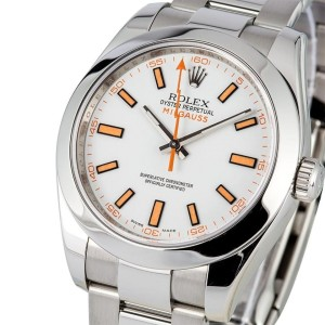 Rolex Milgauss 116400 Stainless Steel White Dial Mens Watch
