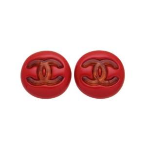 Chanel CC Logo Red Plastic Earrings