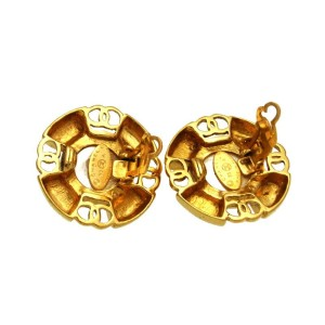 Chanel CC Logo Gold Tone Metal Pearl Round Earrings