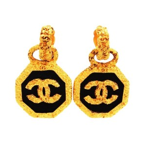 Chanel CC Logo Gold Tone Metal Black Round Dangle Earrings