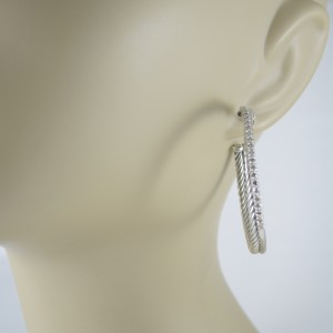 David Yurman Sterling Silver & 14K White Gold .65ct Diamond Crossover Hoop Earrings