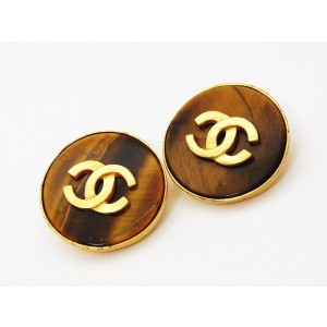 Chanel CC Logo Gold Tone Metal & Wood Brown Stone Round Earrings