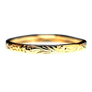14K Yellow Gold Cast Floral Band Ring