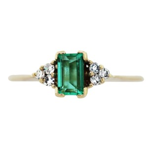 14K Yellow Gold, Emerald and Diamond Ring