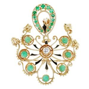 14K Yellow Gold Jade Emerald and Diamond Pin