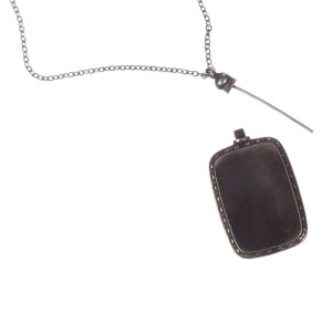 Art Deco Sterling Silver Etched Vial Necklace