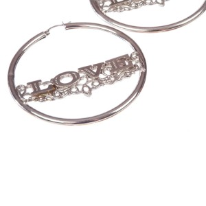 Custom Made Sterling Silver Love Hoop Earrings