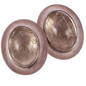 Sterling Silver Rutilated Quartz Cabochon Earrings