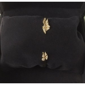 18K Yellow Gold & 0.24ct Diamond Butterfly Cuff Bracelet