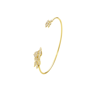18K Yellow Gold & 0.24ct Diamond Butterfly Cuff Bracelet