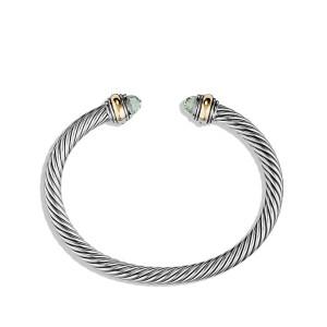 David Yurman Sterling Silver & 14K Yellow Gold Prasiolite Cable Classics Bracelet