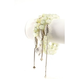 DAVID YURMAN Green Serpentine Spiritual Bead Ball Sterling Silver Bracelet