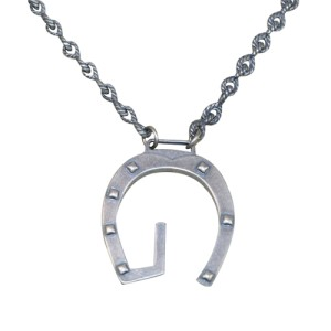 Gucci Aged Sterling Silver Horseshoe Charm Necklace