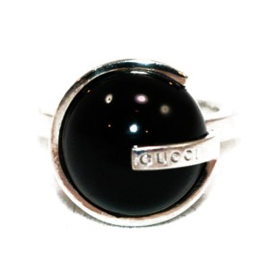 Gucci Sterling Silver And Black Onyx Modern G Logo Ring