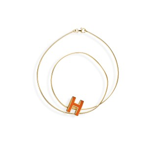 Hermes Pop H Orange & Gold Plated Necklace