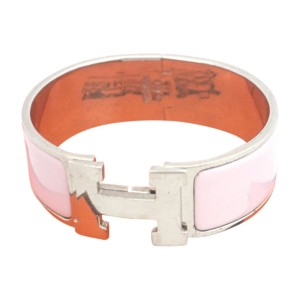 Hermes Silver Tone Metal Pink Enamel Bangle