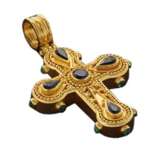 22K Yellow Gold Emerald and Sapphire Byzantine Cross Pendant