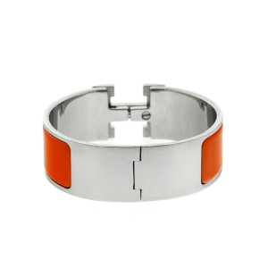 Hermes Clic Clac 'H' Orange Enamel Wide Cuff