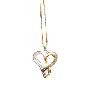 Yellow & White Gold Diamond Heart Necklace