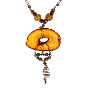 Abstract Handmade Agate Slab Necklace