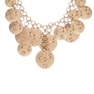 Etched Circle Charm Bib Necklace