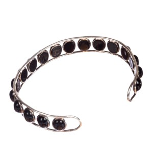 Sterling Silver & Black Onyx Cabochon Cuff Bracelet