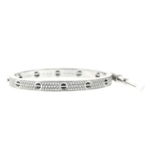 Cartier 18K White Gold Ceramic and Black Diamonds Aldo Cipullo Love Bracelet Size 17