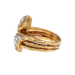 Van Cleef and Arpels 18k Yellow Gold Diamond Double Ring