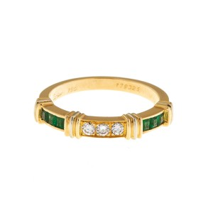 Cartier 18k Yellow Gold Diamond and Emerald Ring