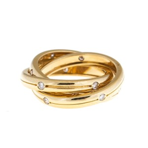 Cartier Trinity Diamond 18k Yellow Gold Ring