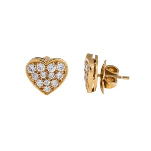 Bvlgari 18k Yellow Gold Diamond Heart Earrings