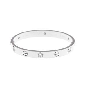 Cartier Love Bracelet 18k White Gold 6 Diamonds Size 16