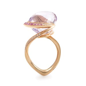 lo Si 18K Rose Gold Amethyst and Gemstone Ring