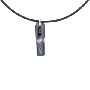 Tiffany & Co.Bar Pendant with Rubber Cord Necklace