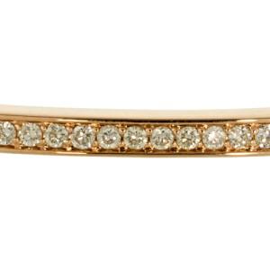 14K Rose Gold White Diamond Stick Cuff
