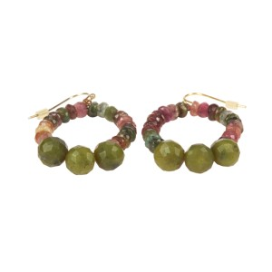 Green and Pink Tourmaline Bead Earrings