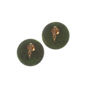 Green Swirl Bakelite Round Earrings