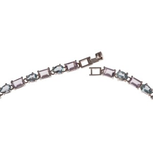 Blue Topaz and Amethyst Eternity Necklace