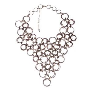 Vintage Circular Chain Link Bib Necklace