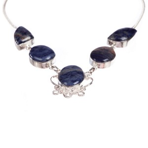 Sterling Silver and Lapis Lazuli Bezel Set Necklace
