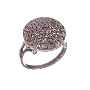 Art Deco Sterling Silver and Marcasite Circular Ring