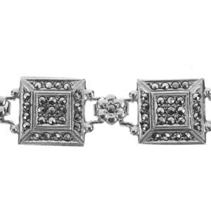 Art Deco Sterling Silver and Marcasite Flower Bracelet