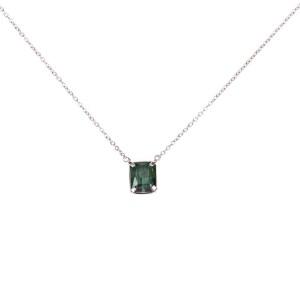 14 kt White Gold Prong Set Green Tourmaline Necklace