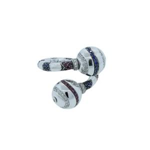 Enigma by Bulgari 18K White Gold Diamond Ruby & Sapphire Ring