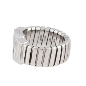 Bulgari 18k White Gold Onyx Tubogas Ring Size 7